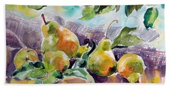 Still Life With Pears Beach Towel by Kovacs Anna Brigitta