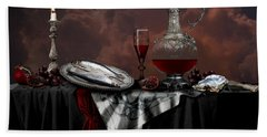 Still Life With Red Wine Beach Sheet