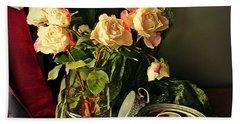 Still Life With Roses Beach Sheet