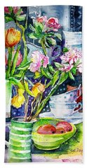 Still Life With Tulips And Apple Blossoms  Beach Sheet