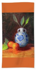 Still Life With Vase And Fruit Beach Towel