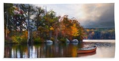 Beach Towel featuring the photograph Still Water Lake by Robin-Lee Vieira