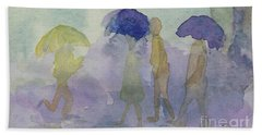 Stomping In The Rain Beach Sheet by Vicki  Housel