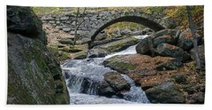 Stone Arch Bridge In Autumn Beach Towel