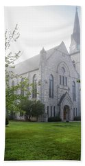 Stone Chapel In Fog Beach Towel