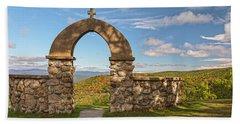 Stone Church In Autumn Beach Sheet
