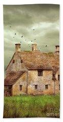 Stone Cottage And Stormy Sky Beach Sheet by Jill Battaglia