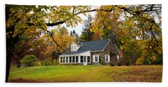 Stone Cottage In The Fall Beach Towel