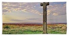 Stone Cross On North York Moors Beach Towel