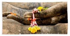 Stone Hand Of Buddha Beach Sheet