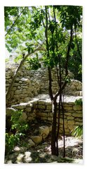 Beach Towel featuring the photograph Stone Steps In The Jungle by Francesca Mackenney