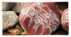 Stone With Tibetian Mantras Tibet Yantra.lv Beach Towel