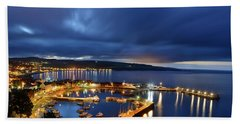 Stonehaven Harbour At Night Beach Towel