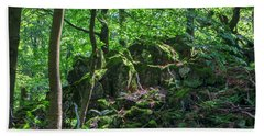 Stones In A Forest In Vogelsberg Beach Towel