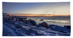 Beach Towel featuring the photograph Stonington Point Blue Hour by Kirkodd Photography Of New England