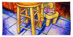 Beach Sheet featuring the painting Stool by Viktor Lazarev