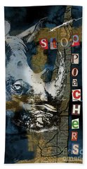 Stop Rhino Poachers Wildlife Conservation Art Beach Towel