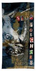 Stop Rhino Poachers Wildlife Conservation Art Beach Sheet