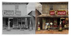 Beach Towel featuring the photograph Store - Grocery - Mexicanita Cafe 1939 - Side By Side by Mike Savad