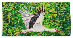 Stork In Flight Beach Towel by Valerie Ornstein