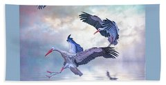 Beach Towel featuring the photograph Storks Landing by Brian Tarr