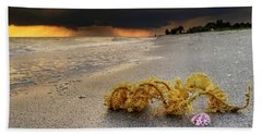 Storm And Sea Shell On Sanibel Beach Towel by Greg Mimbs