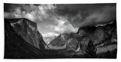 Storm Arrives In The Yosemite Valley Beach Towel