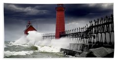 Storm At The Grand Haven Lighthouse Beach Sheet by Randall Nyhof
