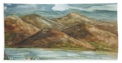 Beach Towel featuring the painting Storm Clouds by Ellen Levinson