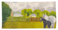 Storm Clouds Mare And Colt At Sunrise Beach Towel