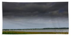 Storm Clouds Moving Over The  Bay Beach Towel