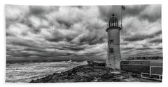 Storm Clouds Over Old Scituate Lighthouse In Black And White Beach Towel