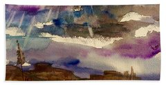 Storm Clouds Over The Desert Beach Towel by Ellen Levinson