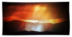 Beach Sheet featuring the photograph Storm Glow Night Over Santa Fe Mountains by Joseph Frank Baraba