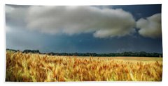 Storm Over Ripening Wheat Beach Towel