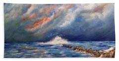 Beach Towel featuring the painting Storm Over The Ocean by Dorothy Maier
