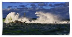 Storm Surf Batters Breakwater Beach Towel