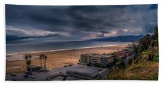 Storm Watch Over Malibu - Panarama  Beach Towel