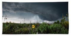 Stormflower - Sunflower Shines Against Storm In Texas Panhandle Beach Towel