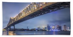 Storms Over The Crescent City Connection Beach Towel by Andy Crawford