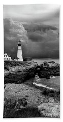 Storms Over The Head Bnw Beach Sheet by Skip Willits
