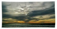 Stormy Beach Clouds Beach Towel