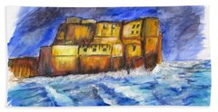 Stormy Castle Dell'ovo, Napoli Beach Towel by Clyde J Kell