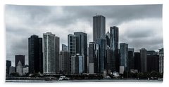 Stormy Chicago  Beach Towel