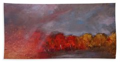 Stormy Fall Landscape Red Yellow Leaves Beach Towel