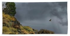Beach Towel featuring the photograph Stormy Flight by Frank Wilson
