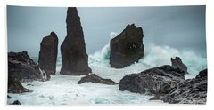 Stormy Iclandic Seas Beach Towel