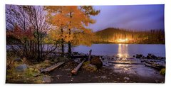 Beach Towel featuring the photograph Stormy Night At Round Lake by Cat Connor