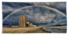 Beach Towel featuring the photograph Stormy Rainbow by Kelly Reber