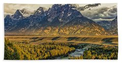 Stormy Sunrise Over The Grand Tetons And Snake River Beach Towel
